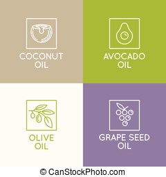 Beauty and cosmetics oils - Vector set of packaging design...