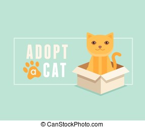 Adopt a cat banner design - Vector illustration in flat...