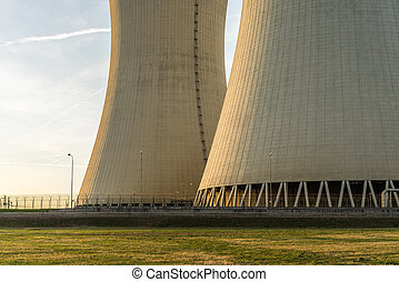 Detail of nuclear power plant. Cooling towers.