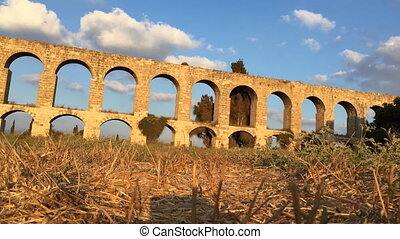 Low angle timelapse of the Aqueduct of Acre - Shot of Low...