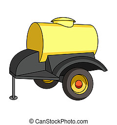 Black trailer on wheels with yellow barrel. Agricultural...