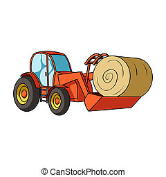 Orange tractor with a ladle transporting hay bale. Agricultural vehicles.Agricultural Machinery single icon in cartoon style bitmap symbol stock illustration.