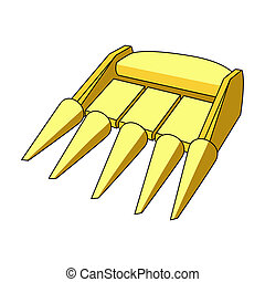 The yellow nozzle on a tractor with a cone-shaped spikes....