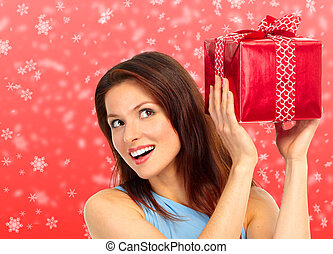 Christmas woman - Christmas shopping smiling woman . Over...
