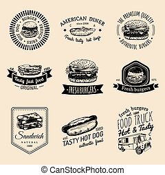 Vector vintage fast food logo set. Retro quick meal signs...