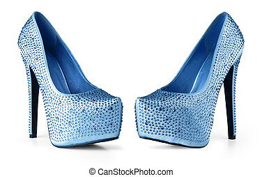 blue woman shoes isolated on white background