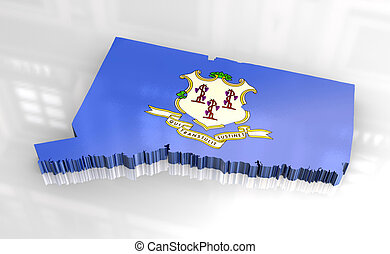 3d - Flag map of Connecticut - 3d made - Flag map of...