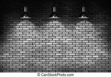brick wall and  lamp - brick wall and three ceiling lamp