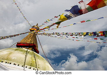 Boudhanath stupa from different ang - Boudhanath stupa and...