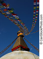 Boundhanath sutpa and prayer flags