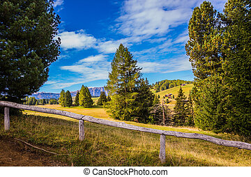 The ski winter resort in autumn - Fabulous mountain valley....