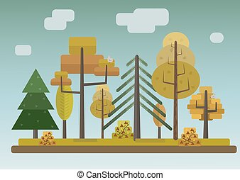 Flat Style Autumn Forest on Storm Sky Background - Flat...