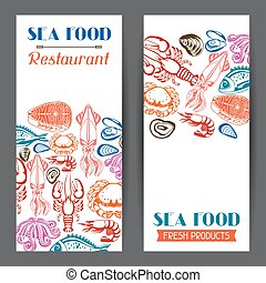 Banners with various seafood. Illustration of fish,...