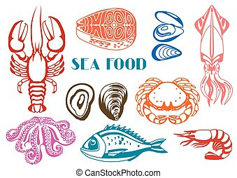 Various seafood set. Illustration of fish, shellfish and...