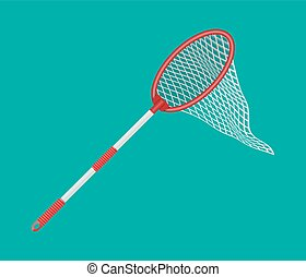 Butterfly net with plastic handle. Vector illustration in...