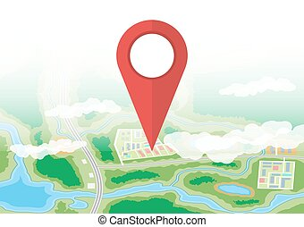 City map icon. GPS and navigation