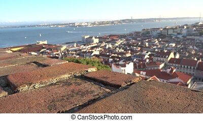 Lisbon outlook from the Castle - Visitors at the Lisbon...