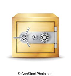 Metal Safe Realistic Vector. Gold Deposit Box For Safety Concept. Combination lock