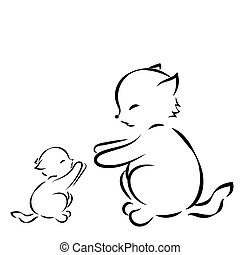 outline drawing cat and kitten on white background - outline...