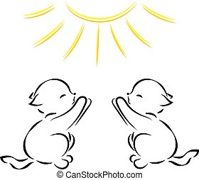 Vector black outline drawing of two kittens in the sun on white background