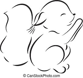 Coloring page. Vector black outline cute squirrel on white background