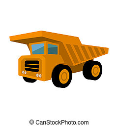Yellow dump truck with black wheels.The vehicle used for...