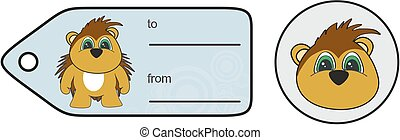 sweet little chubby porcupine cartoon gift card