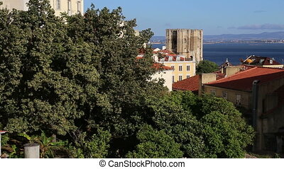 Lisbon city view from balcony in Alfama