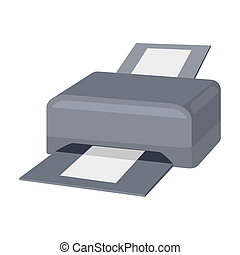 Printer icon in cartoon style isolated on white background....