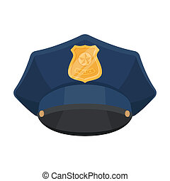 Police cap icon in cartoon style isolated on white...