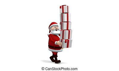 santa balancing presents - cartoon santa claus balancing...