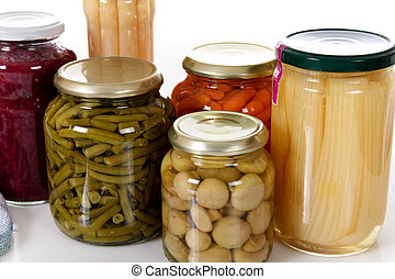 variedade, enlatado, legumes, Jarros
