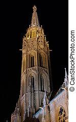Matthias Church Tower - Bottom view of Matthias Church...