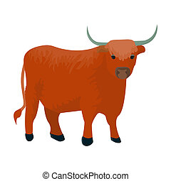 Brown bull with horns.Mountain bull is a symbol of Scotland.Scotland single icon in cartoon style bitmap symbol stock illustration.