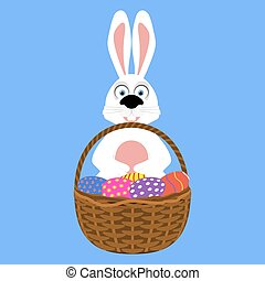 Easter bunny with basket of eggs vector illustration