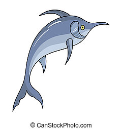 Marlin fish icon in cartoon style isolated on white...