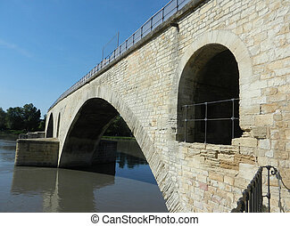 Avignon bridge - Angle view of Avignon Bridge