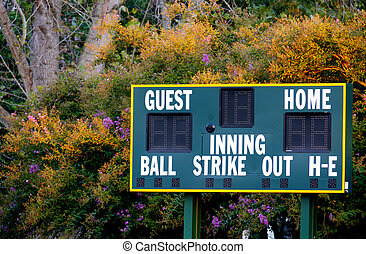 Baseball Scoreboard - A Baseball Scoreboard at a local...