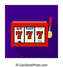 A slot machine in a casino. An automatic with a lever and a dial.Kasino single icon in flat style bitmap symbol stock illustration.