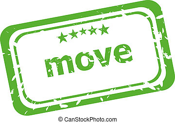 move grunge rubber stamp isolated on white background