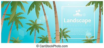 Landscape background with palm trees at tropical beach 4
