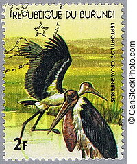 Marabou - REPUBLIC OF BURUNDI - CIRCA 1977: A stamp printed...