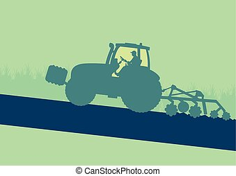 Tractor plowing and cultivating soil field vector background