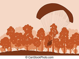 Paragliding jump landscape background for poster -...