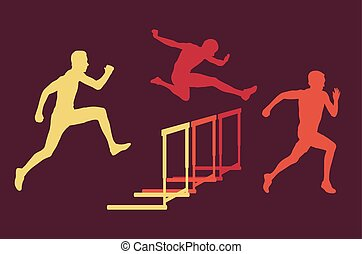Hurdle race man jumping over obstacle retro color vector...