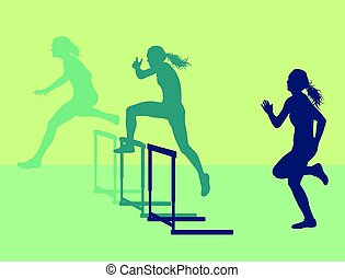 Hurdle race woman jumping over obstacle vector background