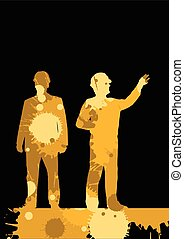Engineer detailed construction site worker silhouettes...