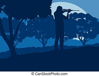 Hunter with gun with forest trees landscape vector...