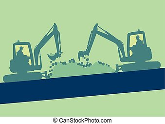 Mini excavator with worker inside cabin working in...