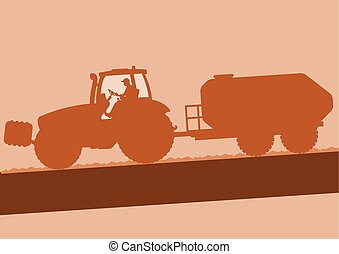Tractor with barrel on field brown vector background